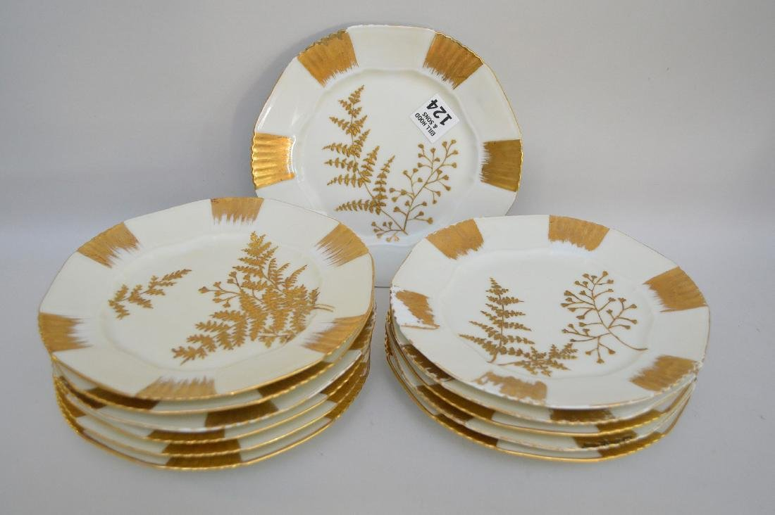 "12 Limoges gold and cream dessert dishes, 7 1/2""d - 2"