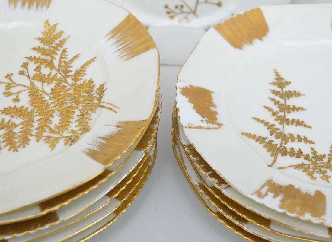 "12 Limoges gold and cream dessert dishes, 7 1/2""d - 3"