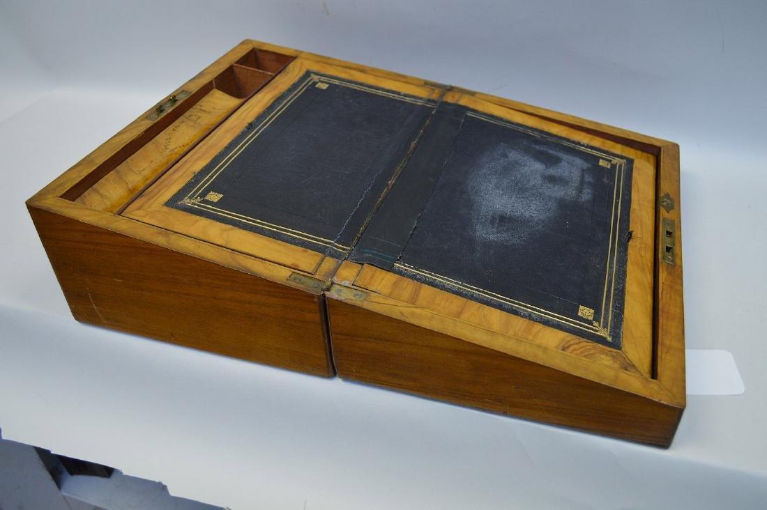 """19th century maple lap desk, interior complete, 6 1/2""""h - 5"""