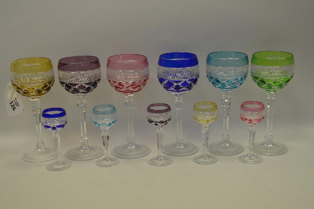 11 assorted colored cut glass set; 5 cordials, 6 wines