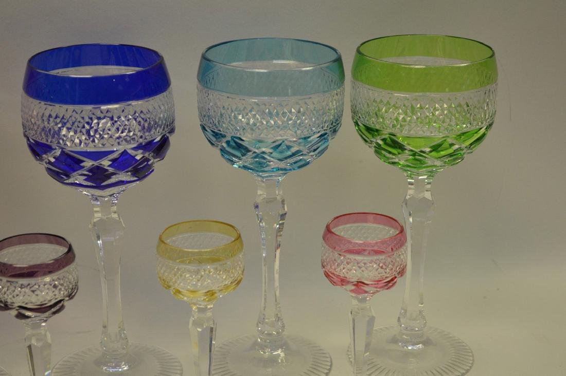 11 assorted colored cut glass set; 5 cordials, 6 wines - 2