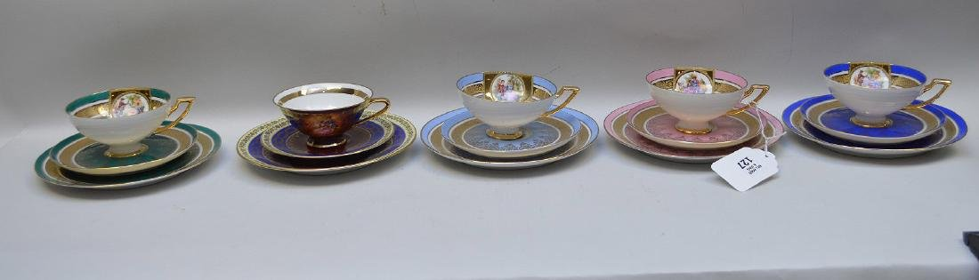17 pieces of assorted German cups and saucers