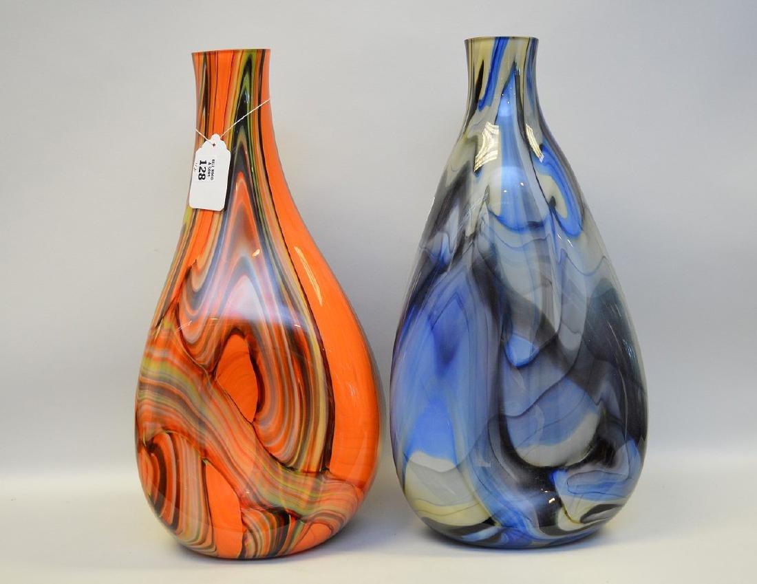 2 Murano style swirled glass vases; 1 orange, 1 blue,