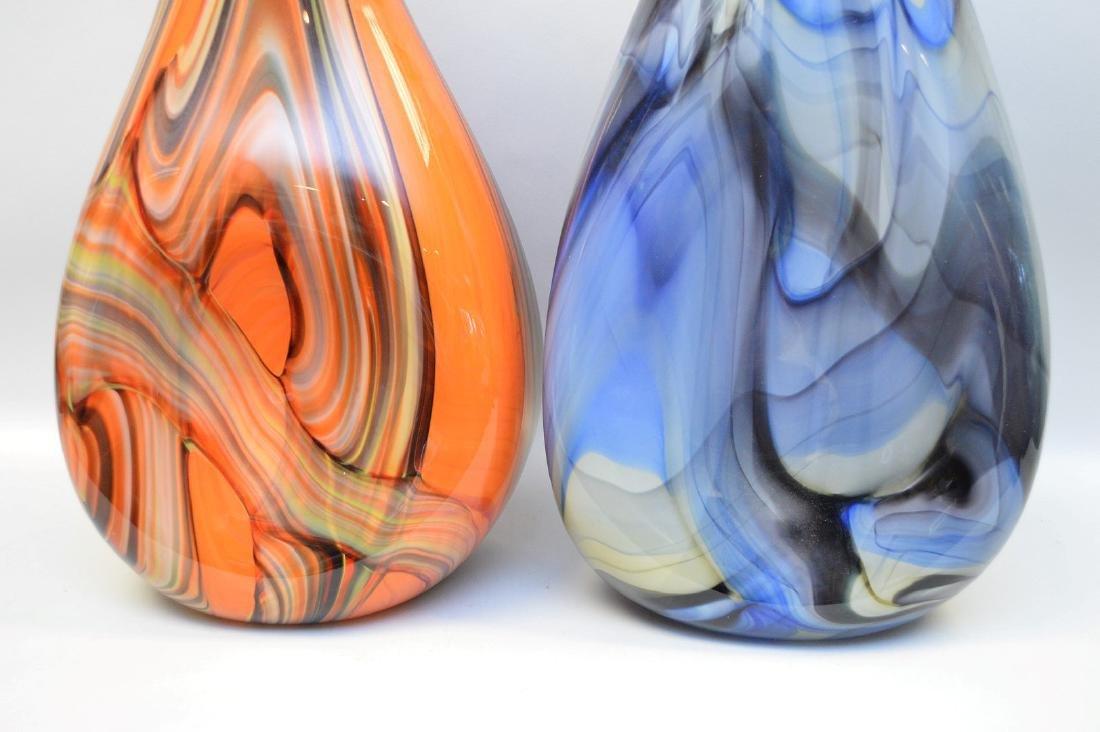 2 Murano style swirled glass vases; 1 orange, 1 blue, - 2
