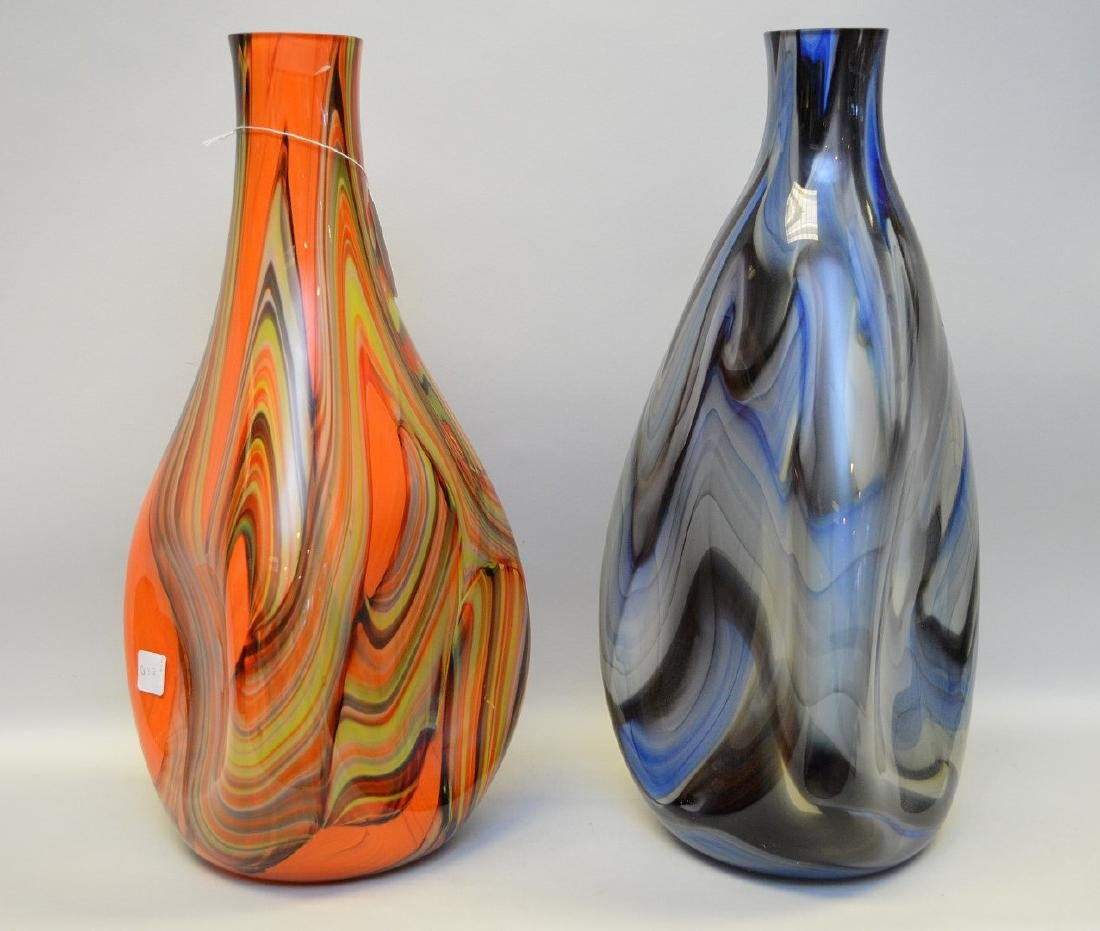 2 Murano style swirled glass vases; 1 orange, 1 blue, - 3