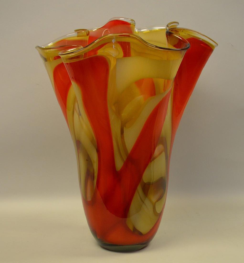 """2 Murano style red swirled ruffled rim vases, 14""""h x"""