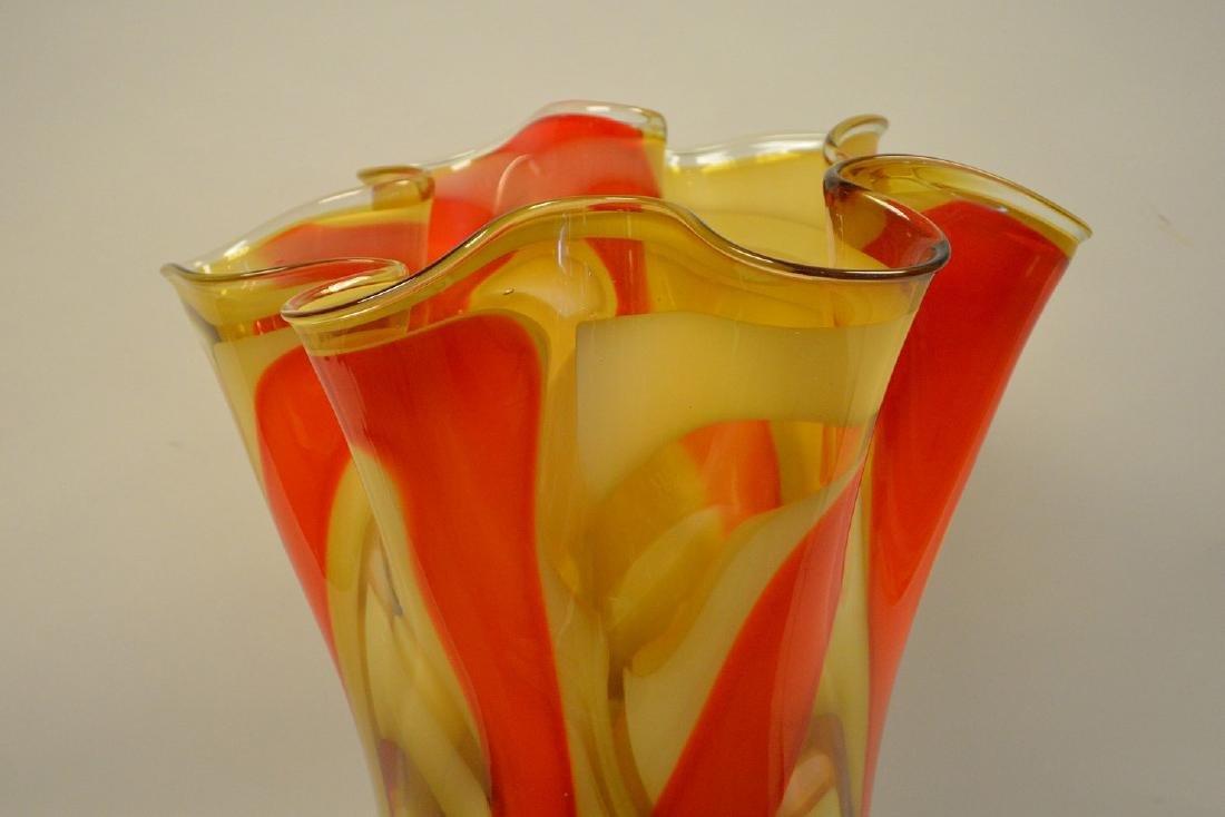 """2 Murano style red swirled ruffled rim vases, 14""""h x - 2"""