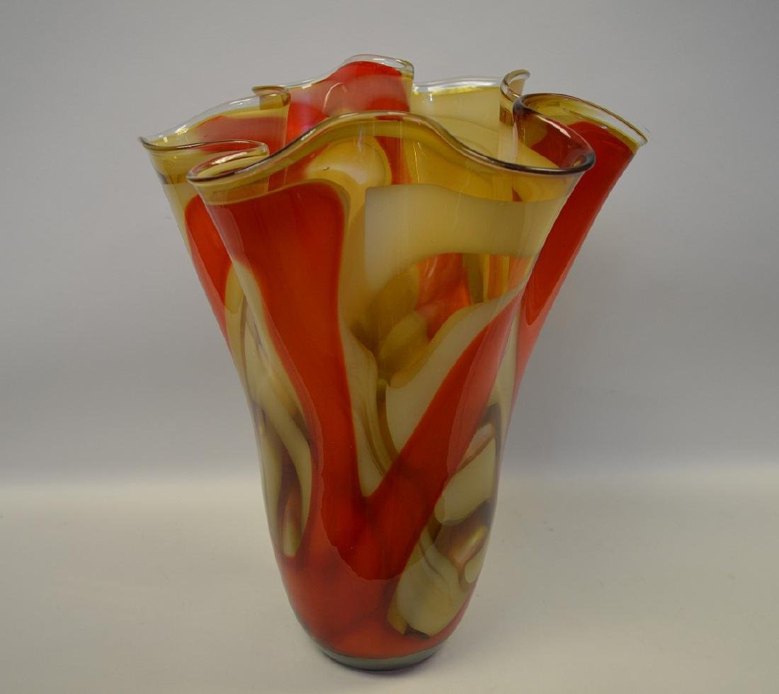 """2 Murano style red swirled ruffled rim vases, 14""""h x - 3"""