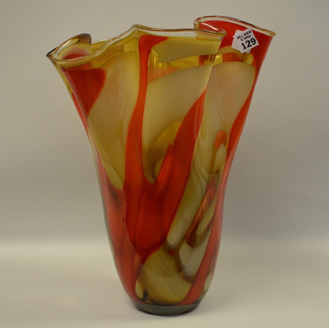 """2 Murano style red swirled ruffled rim vases, 14""""h x - 4"""