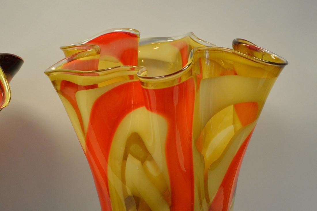 """2 Murano style red swirled ruffled rim vases, 14""""h x - 7"""