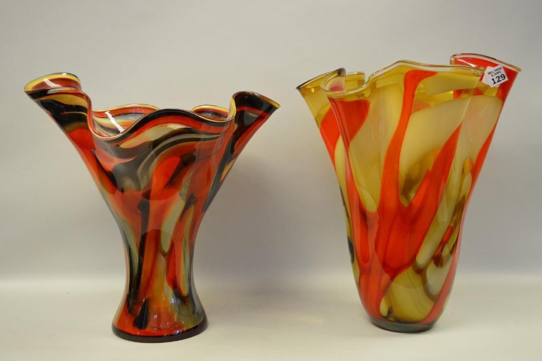 """2 Murano style red swirled ruffled rim vases, 14""""h x - 9"""