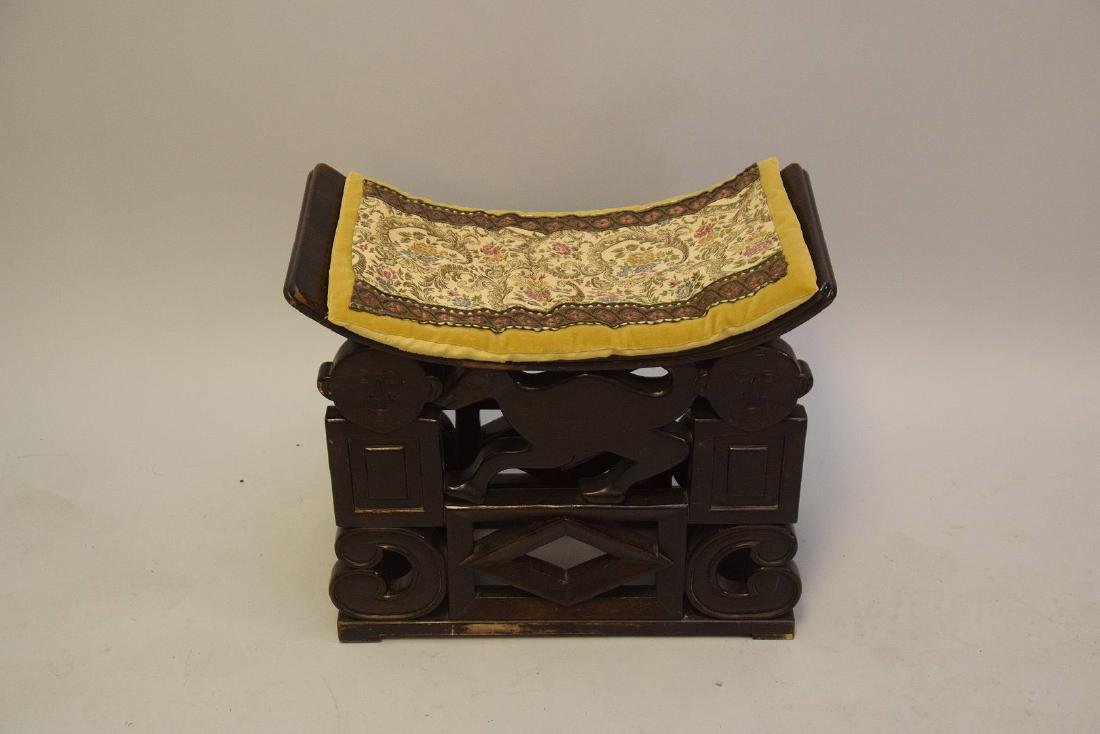 """African carved stool, crack on seat, 19""""h x 21 1/2""""w x - 3"""