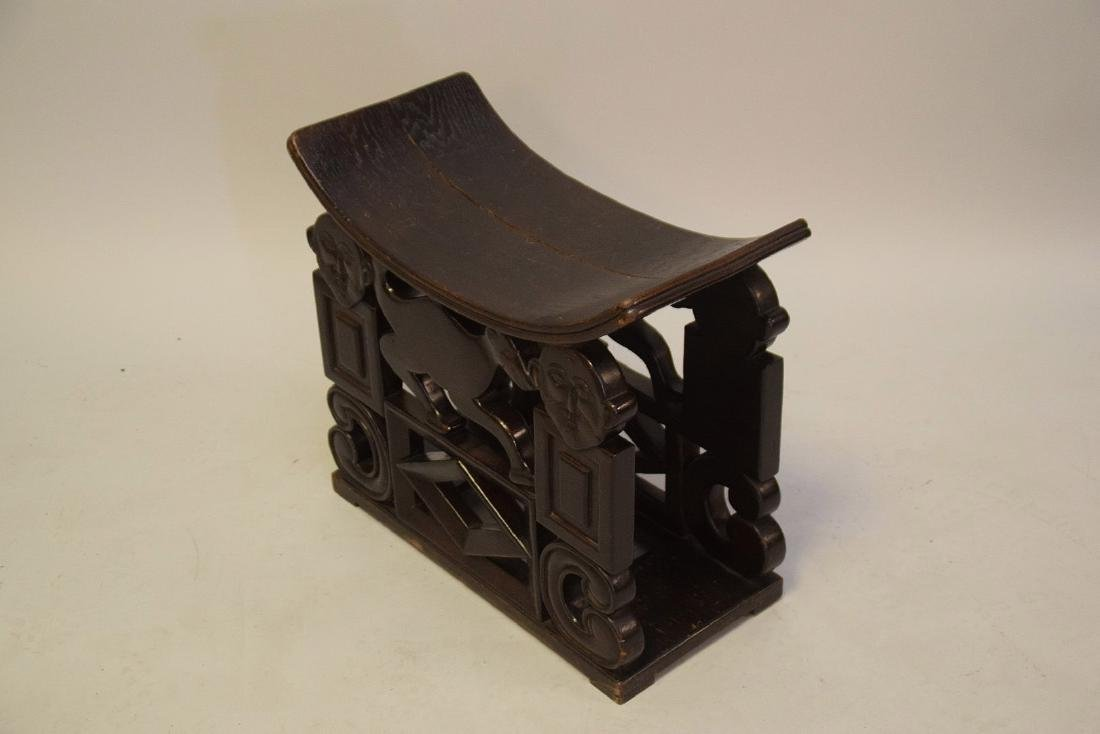 """African carved stool, crack on seat, 19""""h x 21 1/2""""w x - 5"""