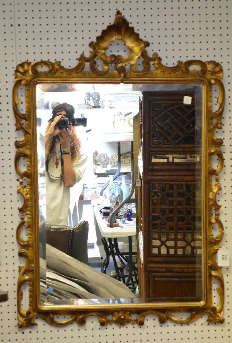 "Giltwood beveled mirror, 45""h x 31""w"