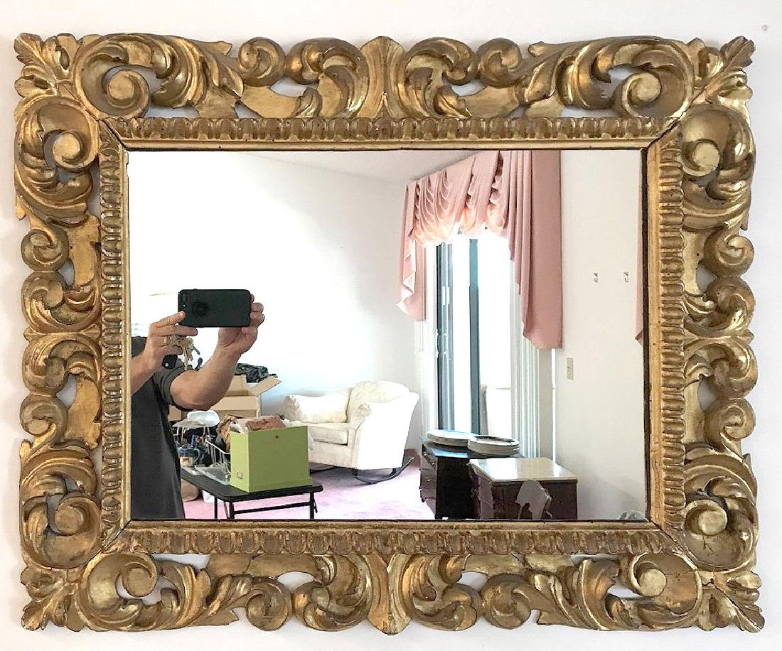 """19th Century giltwood Acanthus carved mirror, 32""""h x"""