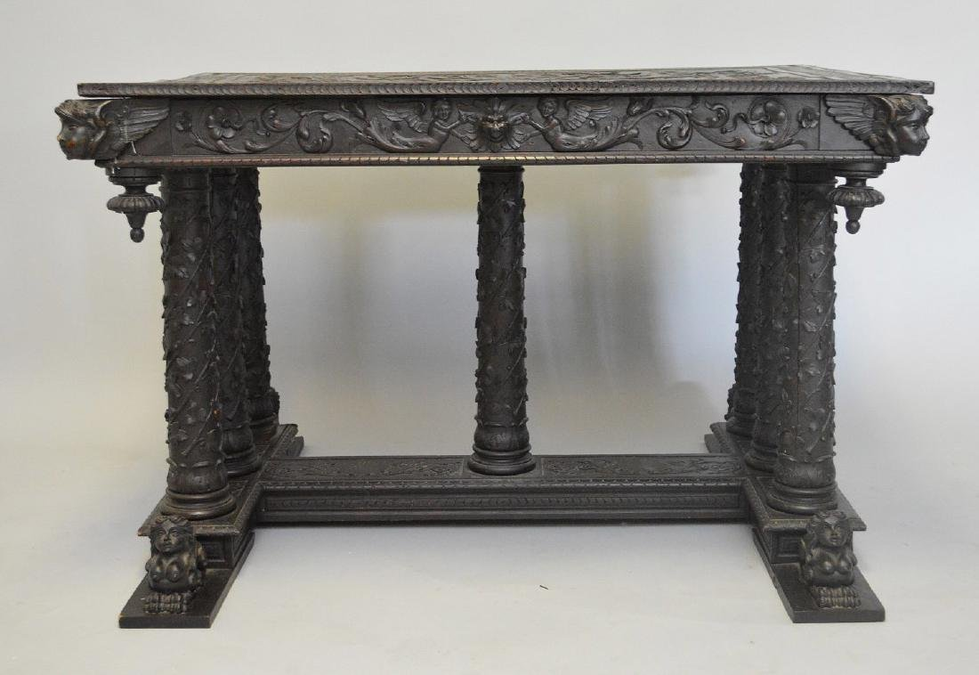 19th Century Italian elaborately carved walnut - 6