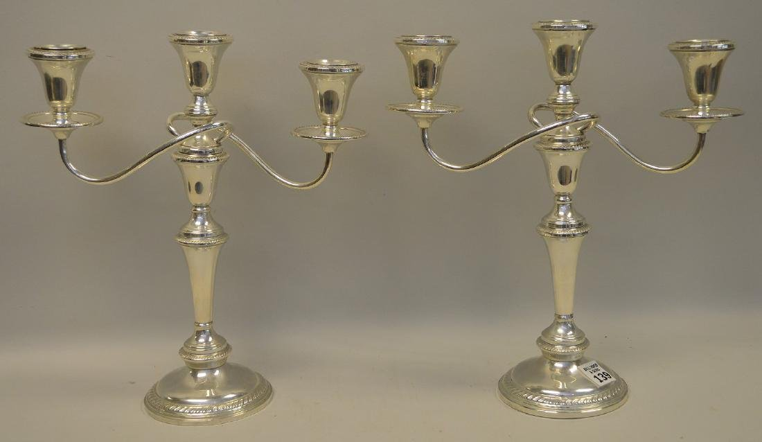 Pair of Hamilton Sterling Silver Weighted 3-Branch