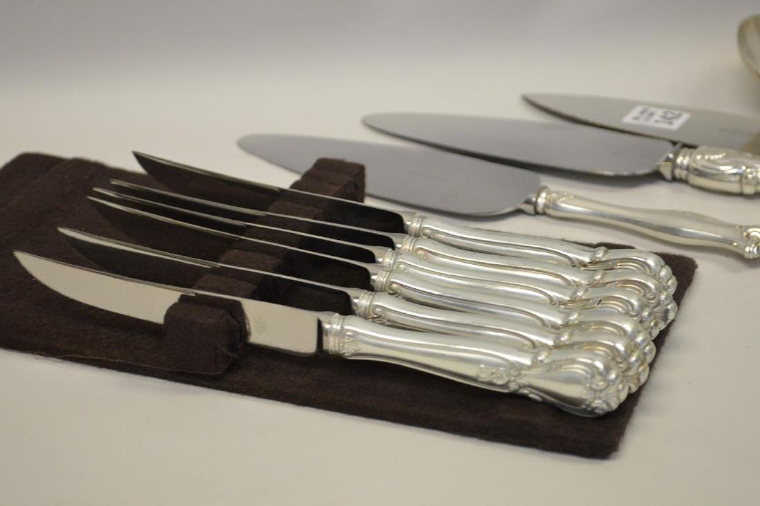 6 sterling handled steak knives, 3 sterling handled pie - 2