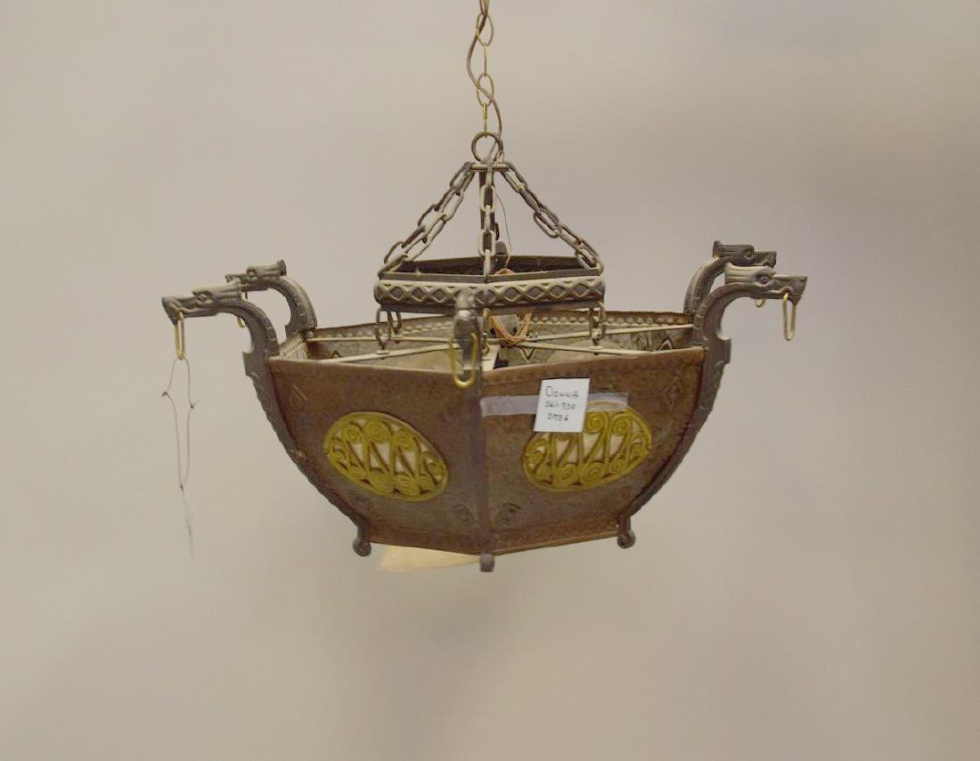 Hanging art deco chandelier iron and copper, hexagonal