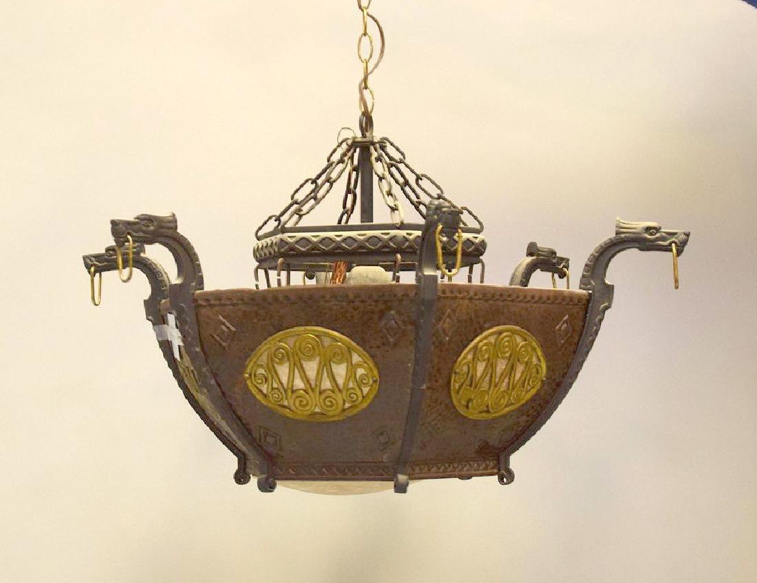Hanging art deco chandelier iron and copper, hexagonal - 2