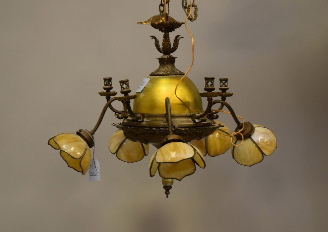 Gilt metal chandelier with 3 slag glass tulip shape