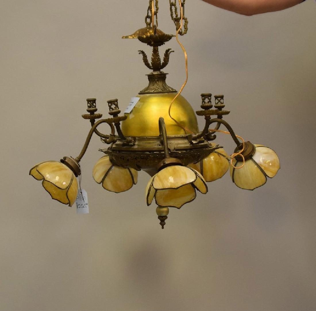 Gilt metal chandelier with 3 slag glass tulip shape - 2