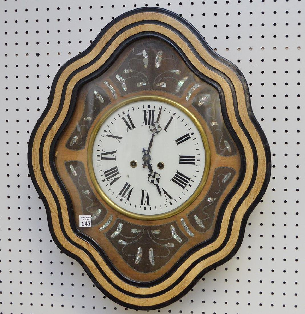 Hanging Victorian wall clock with mother of pearl