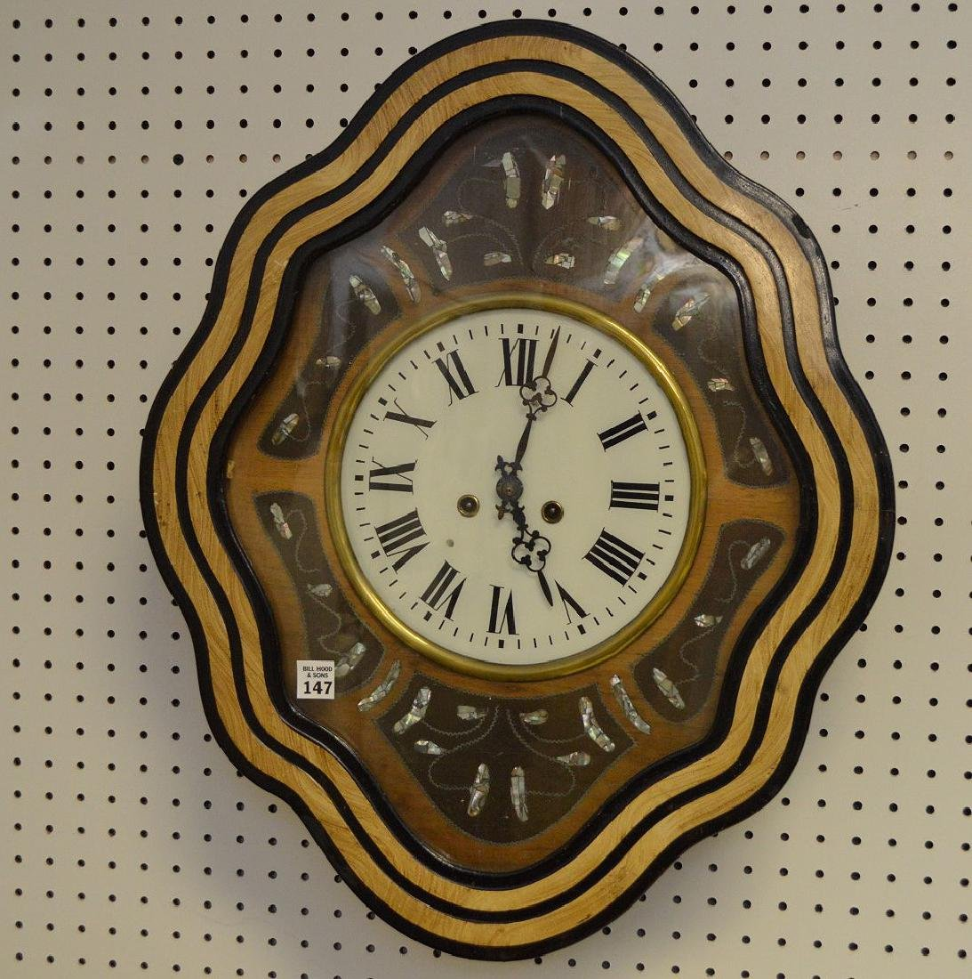 Hanging Victorian wall clock with mother of pearl - 2