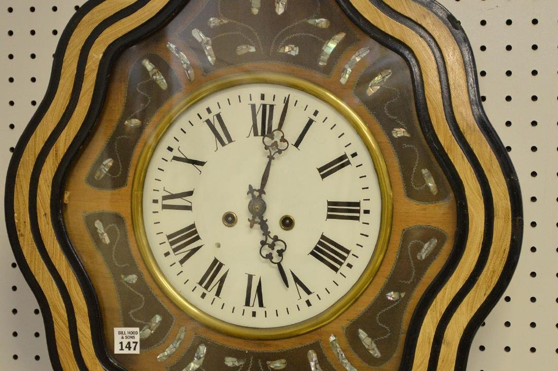 Hanging Victorian wall clock with mother of pearl - 3