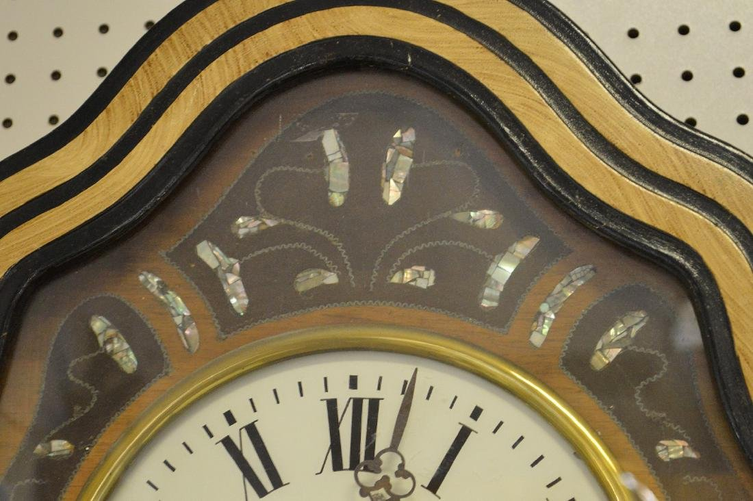 Hanging Victorian wall clock with mother of pearl - 5