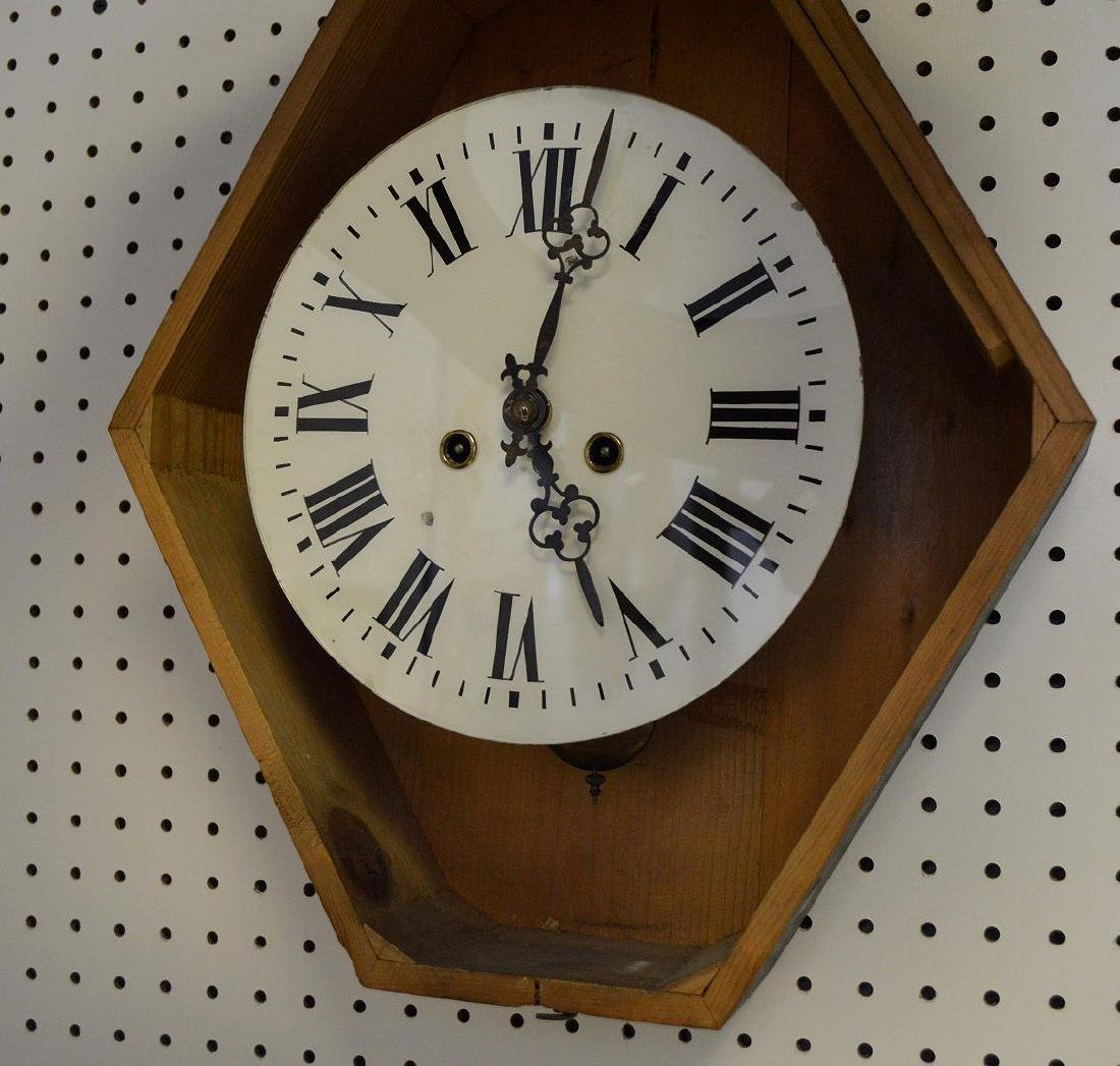 Hanging Victorian wall clock with mother of pearl - 6
