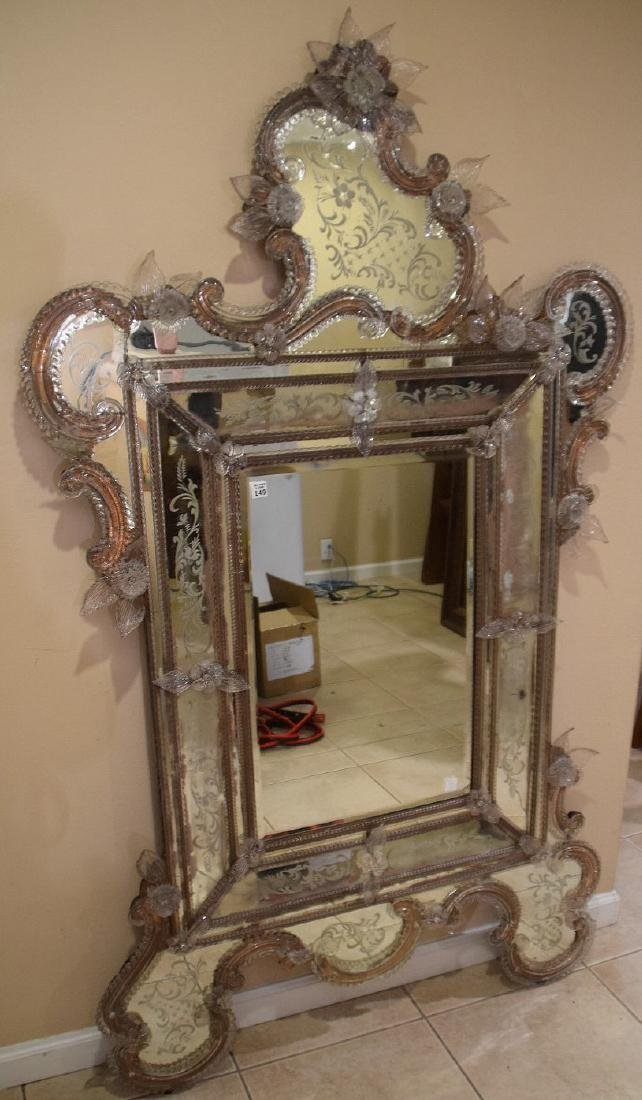Rare Venetian mirror etched and engraved with numerous