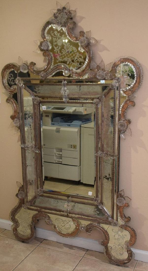 Rare Venetian mirror etched and engraved with numerous - 2