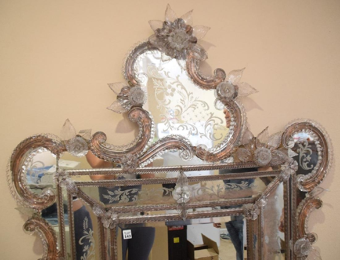 Rare Venetian mirror etched and engraved with numerous - 3