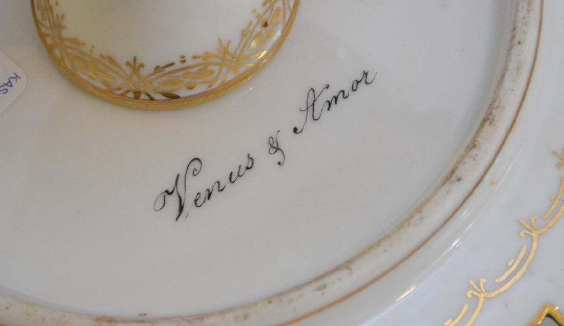 3 pieces of Porcelain; 1 Royal Vienna compote with - 10