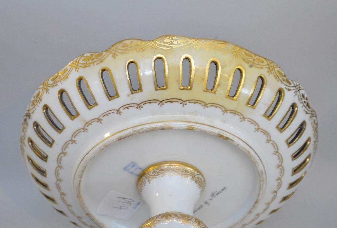 3 pieces of Porcelain; 1 Royal Vienna compote with - 12