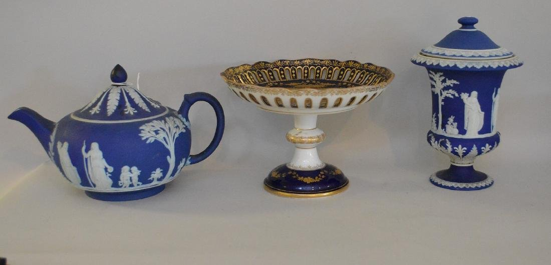3 pieces of Porcelain; 1 Royal Vienna compote with