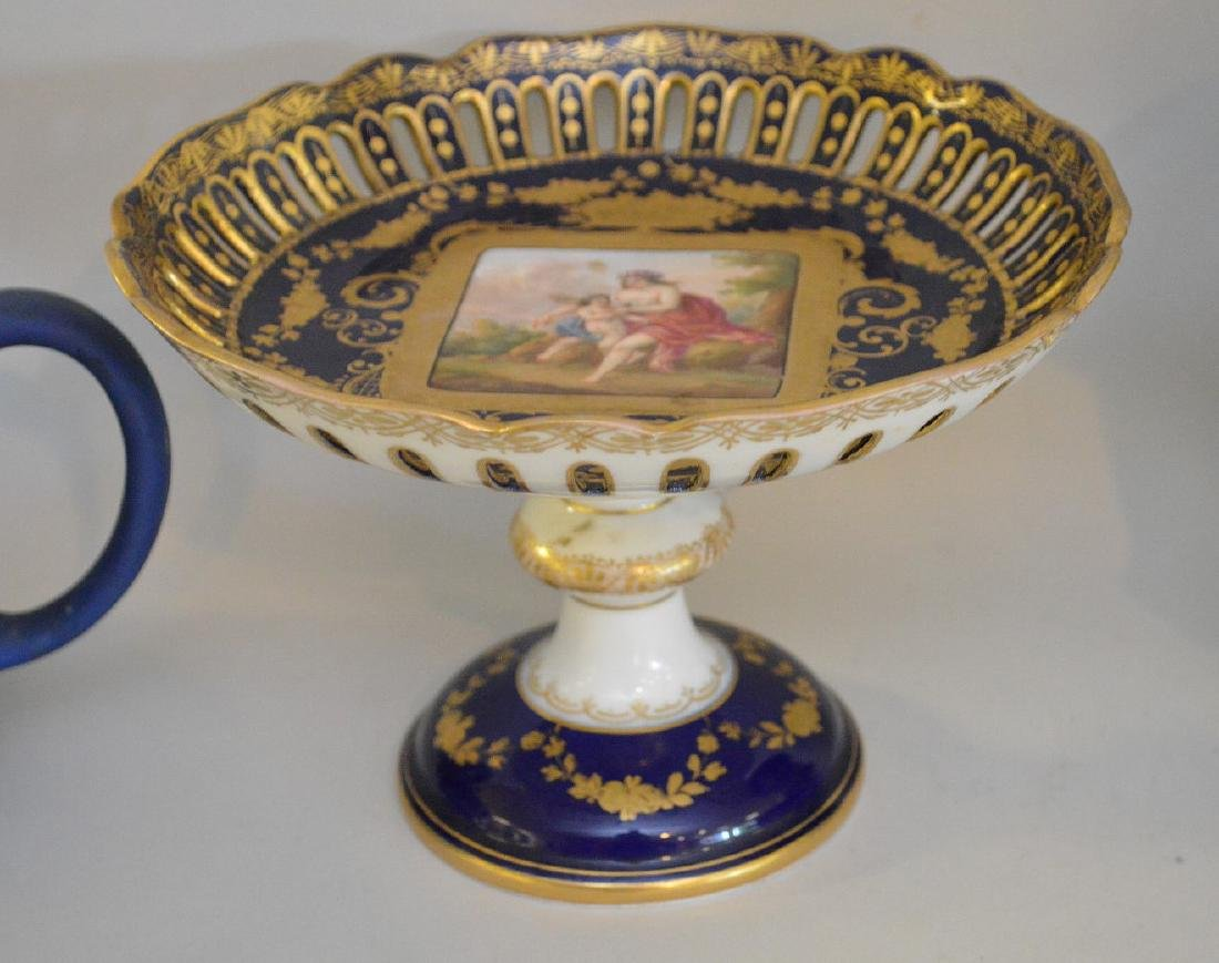 3 pieces of Porcelain; 1 Royal Vienna compote with - 3
