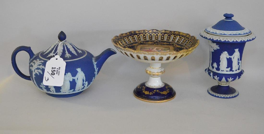 3 pieces of Porcelain; 1 Royal Vienna compote with - 5