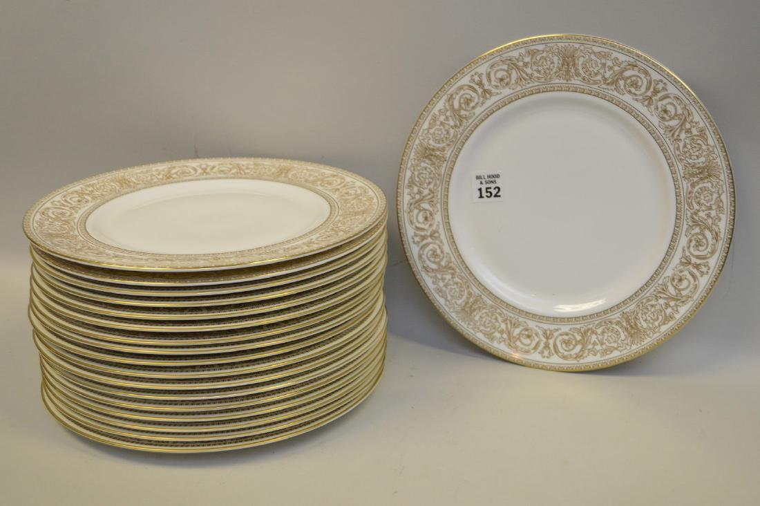 18 dinner plates; 15 Micasa, 3 Royal Doulton, gold and