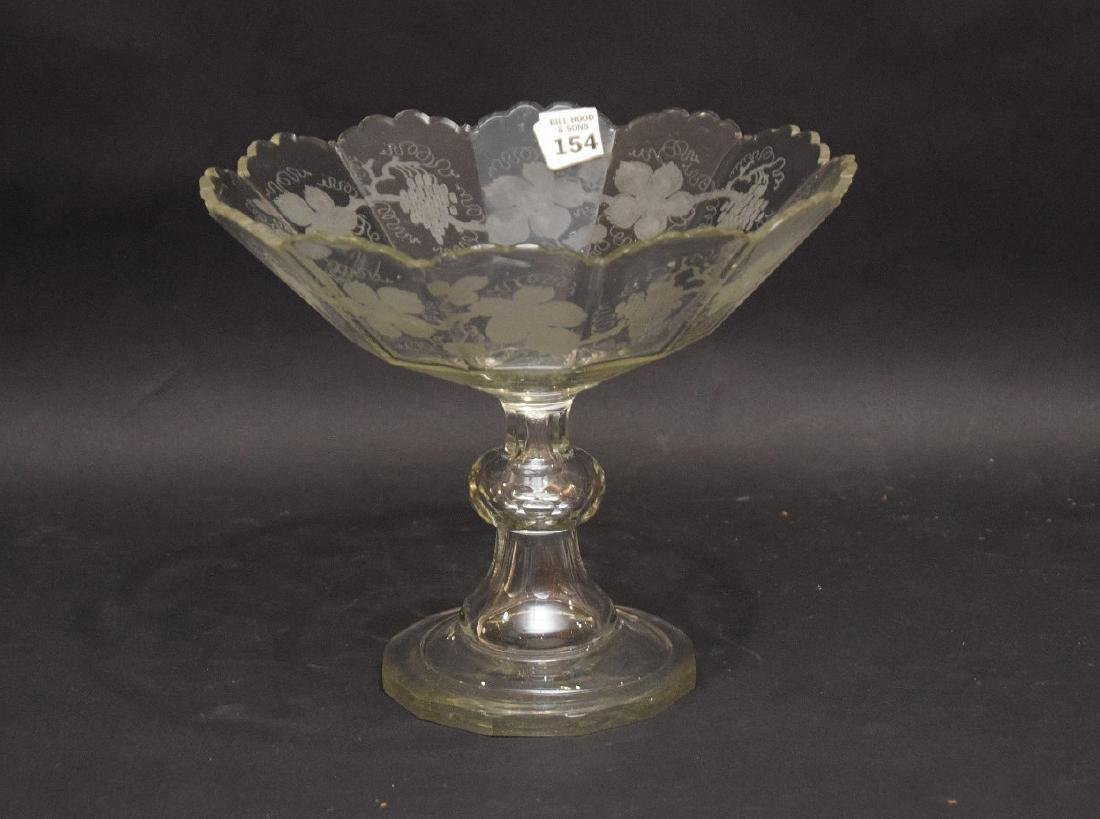 "Handblown and etched pedestal fruit bowl, 9""h x 10"