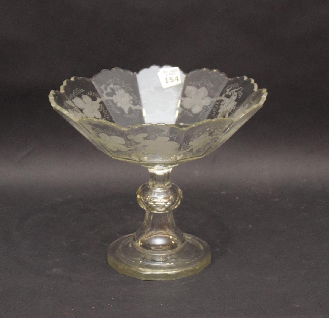 "Handblown and etched pedestal fruit bowl, 9""h x 10 - 2"