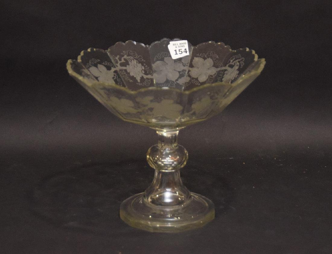 "Handblown and etched pedestal fruit bowl, 9""h x 10 - 3"