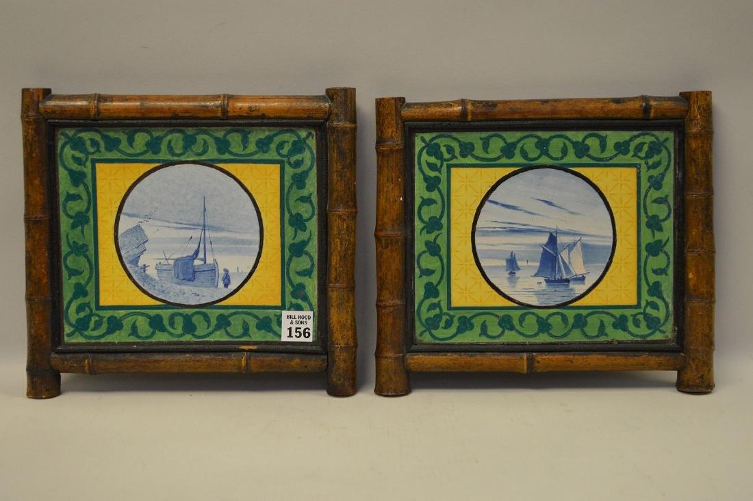 "Pair bamboo framed Dutch tiles, 10""h x 10 1/2""w"