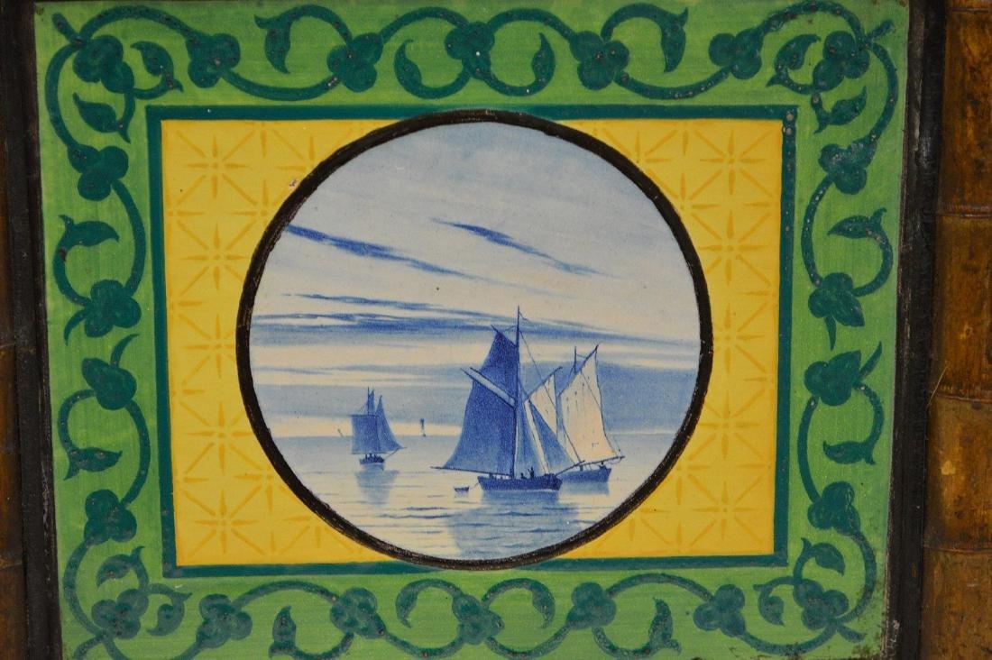 "Pair bamboo framed Dutch tiles, 10""h x 10 1/2""w - 2"