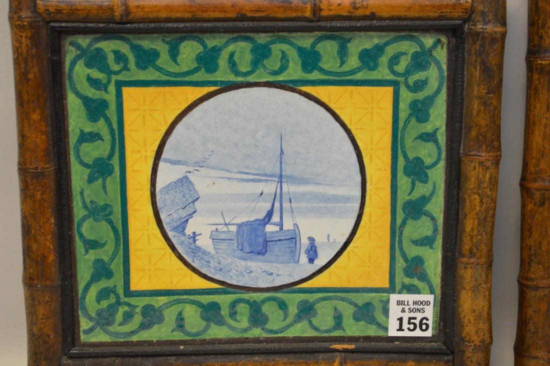 "Pair bamboo framed Dutch tiles, 10""h x 10 1/2""w - 3"