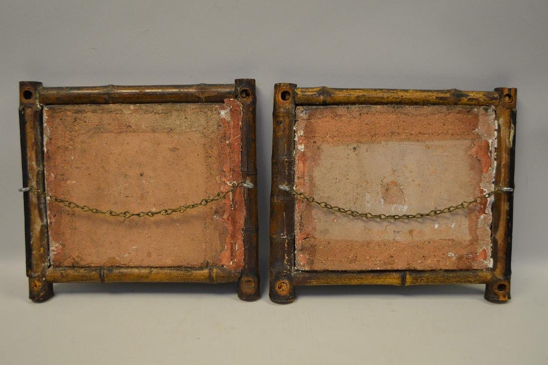 "Pair bamboo framed Dutch tiles, 10""h x 10 1/2""w - 4"