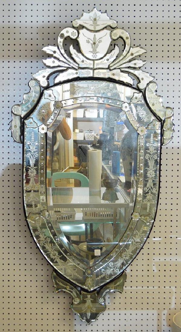 "Venetian 20th c. shield form mirror, 54""h x 28""w"