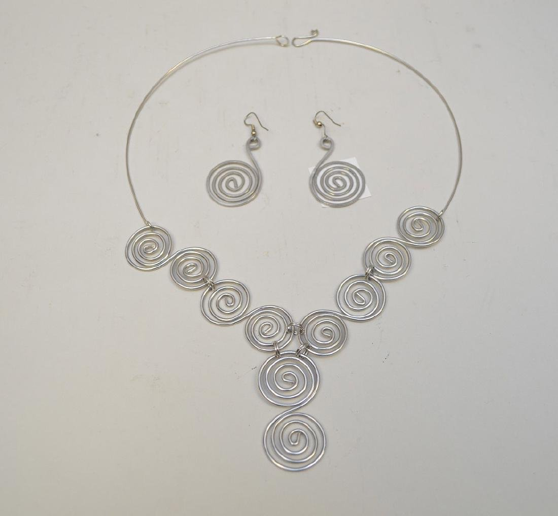 pendant necklace with earrings attr: Calder