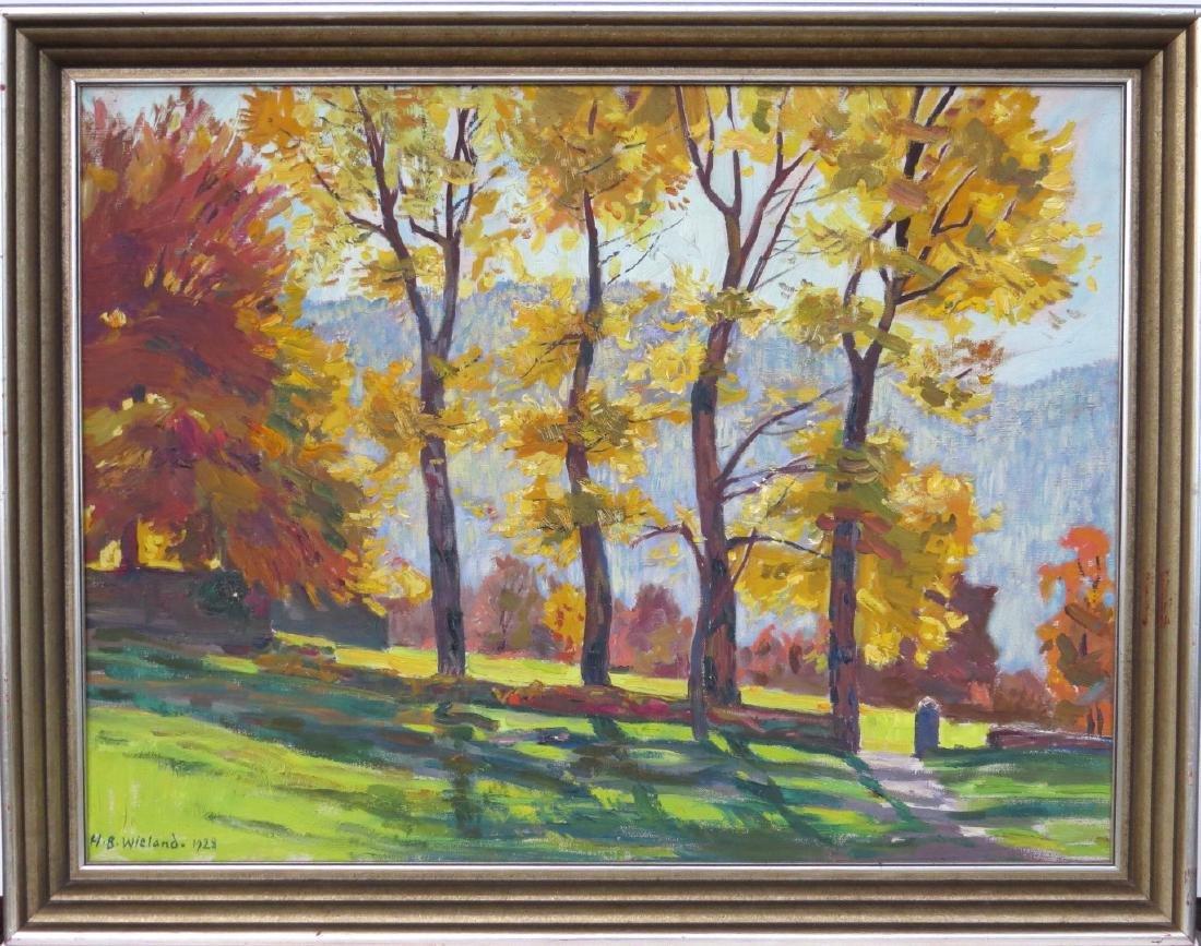 """HANS B. WIELAND (Swiss, 1867-1945), Oil/Canvas, """"Autumn"""